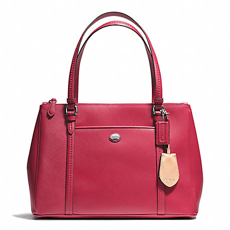 COACH f25669 PEYTON LEATHER JORDAN DOUBLE ZIP CARRYALL SILVER/RED