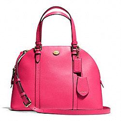 PEYTON CORA DOMED SATCHEL IN LEATHER - f25671 - BRASS/POMEGRANATE
