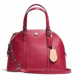 PEYTON LEATHER CORA DOMED SATCHEL - f25671 - SILVER/RED