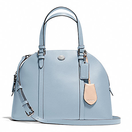 PEYTON LEATHER CORA DOMED SATCHEL - COACH F25671 - SILVER/SKY