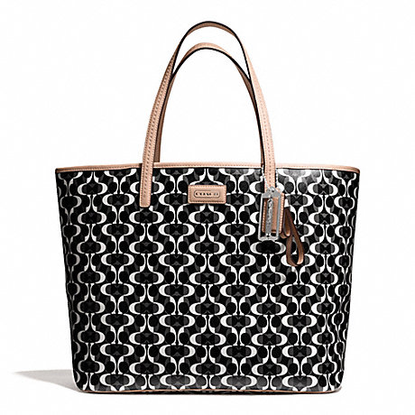 COACH f25673 PARK METRO DREAM C TOTE SILVER/BLACK/WHITE/BLACK