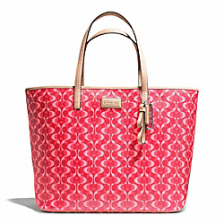 COACH F25673 - PARK METRO DREAM C TOTE SILVER/BRIGHT CORAL/TAN