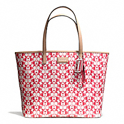 COACH F25673 - PARK METRO TOTE IN DREAM C COATED CANVAS SILVER/WHITE POMEGRANATE/TAN
