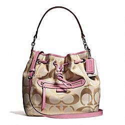 COACH F25676 - DAISY OUTLINE SIGNATURE METALLIC DRAWSTRING SHOULDER BAG ONE-COLOR