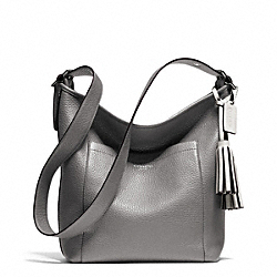 PEBBLED LEATHER DUFFLE - f25678 - SILVER/GRAPHITE