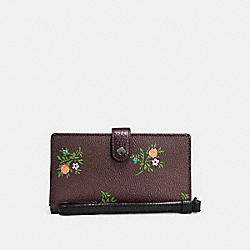 COACH F25679 Phone Wristlet With Cross Stitch Floral Print DARK GUNMETAL/OXBLOOD CROSS STITCH FLORAL