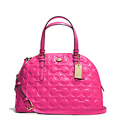 PEYTON OP ART EMBOSSED PATENT CORA DOMED SATCHEL - f25705 - BRASS/POMEGRANATE