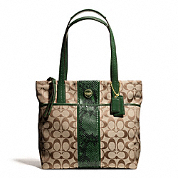 COACH F25706 Signature Stripe Python Stripe Tote BRASS/KHAKI/GREEN