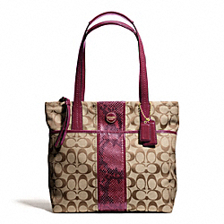 COACH F25706 Signature Stripe Python Stripe Tote BRASS/KHAKI/RASPBERRY