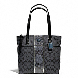 COACH F25706 - SIGNATURE STRIPE PYTHON STRIPE TOTE SILVER/BLACK GREY/BLACK