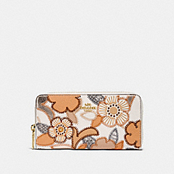 COACH F25707 Accordion Zip Wallet With Patchwork Tea Rose And Snakeskin Detail CHALK MULTI/LIGHT GOLD