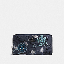 COACH F25707 Accordion Zip Wallet With Patchwork Tea Rose And Snakeskin Detail NAVY MULTI/SILVER