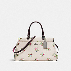 FULTON SATCHEL WITH CROSS STITCH FLORAL PRINT - f25726 - CHALK CROSS STITCH FLORAL/DARK GUNMETAL