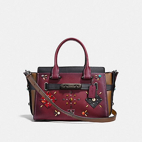COACH F25744 COACH SWAGGER 27 WITH COLORBLOCK PATCHWORK PRAIRIE RIVETS WINE/BLACK-COPPER