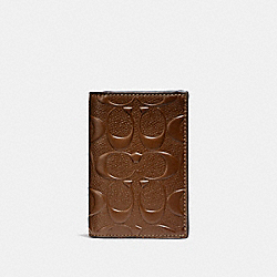 BIFOLD CARD CASE IN SIGNATURE LEATHER - f25752 - SADDLE