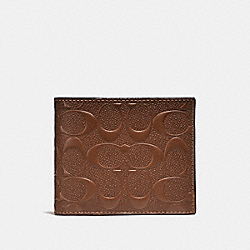 COMPACT ID WALLET IN SIGNATURE LEATHER - f25753 - SADDLE