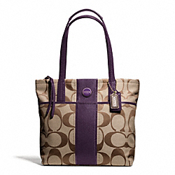 COACH F25771 - SIGNATURE STRIPE TOTE BRASS/KHAKI/PURPLE