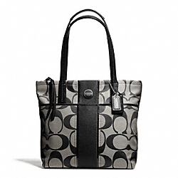 COACH F25771 Signature Stripe Tote SILVER/BLACK/WHITE/BLACK