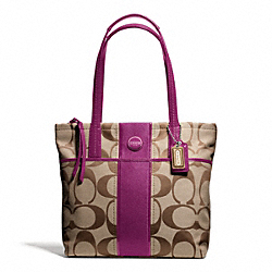 COACH F25771 - SIGNATURE STRIPE TOTE SILVER/KHAKI/PASSION BERRY