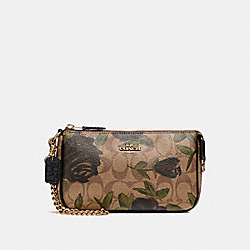 COACH F25787 Large Wristlet 19 With Camo Rose Floral Print LIGHT GOLD/KHAKI