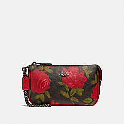 COACH F25787 Large Wristlet 19 With Camo Rose Floral Print BLACK ANTIQUE NICKEL/BROWN RED MULTI