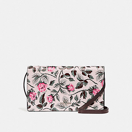 COACH f25788 FOLDOVER CROSSBODY CLUTCH WITH SLEEPING ROSE PRINT SILVER/MULTI