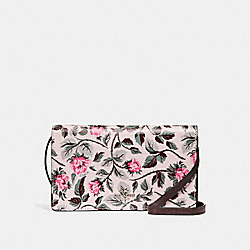 COACH F25788 - FOLDOVER CROSSBODY CLUTCH WITH SLEEPING ROSE PRINT SILVER/MULTI