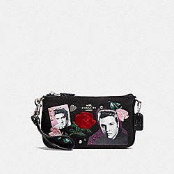 COACH F25789 Large Wristlet 19 With Elvis™ SILVER/BLACK MULTI