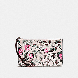 COACH F25792 Small Wristlet With Sleeping Rose Print SILVER/MULTI