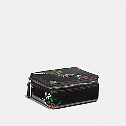 JEWELRY BOX WITH CROSS STITCH FLORAL PRINT - f25794 - SILVER/BLACK MULTI