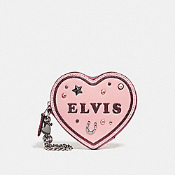 COACH F25795 Heart Coin Case With Elvis™ SILVER/BLUSH