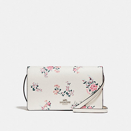 COACH f25797 FOLDOVER CROSSBODY CLUTCH WITH CROSS STITCH FLORAL PRINT SILVER/CHALK MULTI