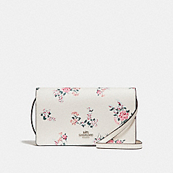 FOLDOVER CROSSBODY CLUTCH WITH CROSS STITCH FLORAL PRINT - f25797 - SILVER/CHALK MULTI