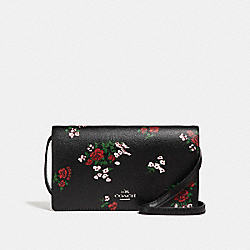 FOLDOVER CROSSBODY CLUTCH WITH CROSS STITCH FLORAL PRINT - f25797 - SILVER/BLACK MULTI