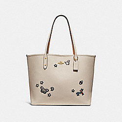 COACH F25798 - CITY TOTE WITH SOUVENIR EMBROIDERY CHALK/LIGHT GOLD