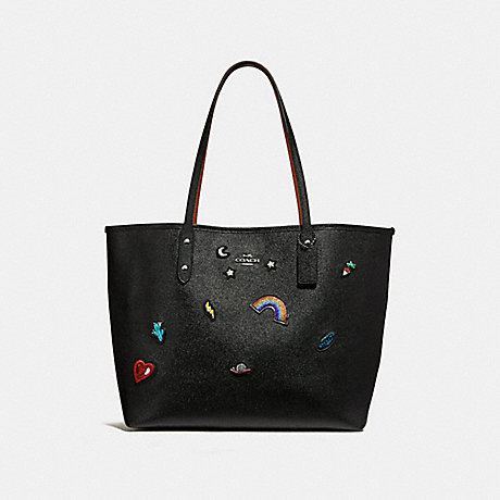 COACH f25798 CITY TOTE WITH SOUVENIR EMBROIDERY SILVER/BLACK