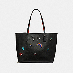 COACH F25798 - CITY TOTE WITH SOUVENIR EMBROIDERY SILVER/BLACK