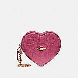 COACH F25800 Heart Coin Case LIGHT GOLD/ROUGE