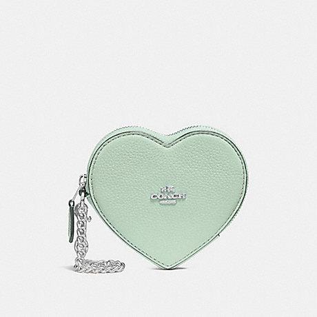 COACH F25800 HEART COIN CASE PALE GREEN/SILVER