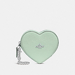 COACH F25800 - HEART COIN CASE PALE GREEN/SILVER