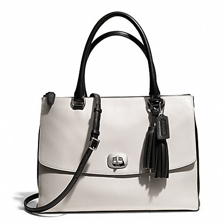 COACH F25803 TWO TONE LEATHER LARGE HARPER TRIPLE ZIP SATCHEL ONE-COLOR
