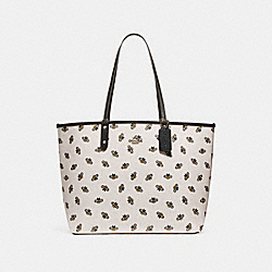 COACH F25820 - REVERSIBLE CITY TOTE WITH BEE PRINT CHALK/BLACK/SILVER