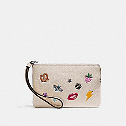 COACH F25839 Corner Zip Wristlet With Allover Motifs CHALK MULTI/SILVER