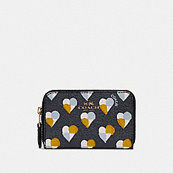 COACH F25844 Zip Around Coin Case With Checker Heart Print MIDNIGHT MULTI/LIGHT GOLD