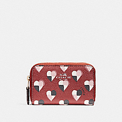 COACH F25844 Zip Around Coin Case With Checker Heart Print TERRACOTTA MULTI/LIGHT GOLD