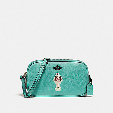 COACH f25845 CROSSBODY POUCH WITH ICE CREAM SUNDAE MOTIF BLUE GREEN/BLACK ANTIQUE NICKEL