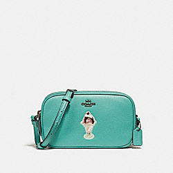 COACH F25845 - CROSSBODY POUCH WITH ICE CREAM SUNDAE MOTIF BLUE GREEN/BLACK ANTIQUE NICKEL