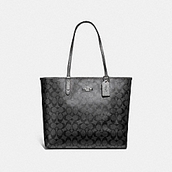 COACH F25849 - REVERSIBLE CITY TOTE IN SIGNATURE CANVAS GUNMETAL/GUNMETAL/SILVER