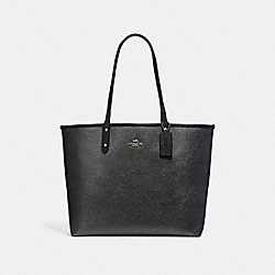 COACH F25849 Reversible City Tote In Signature And Metallic Canvas BLACK SMOKE/GRAPHITE/SILVER