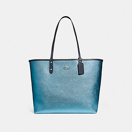 COACH f25849 REVERSIBLE CITY TOTE IN SIGNATURE AND METALLIC CANVAS DENIM/METALLIC POOL/SILVER